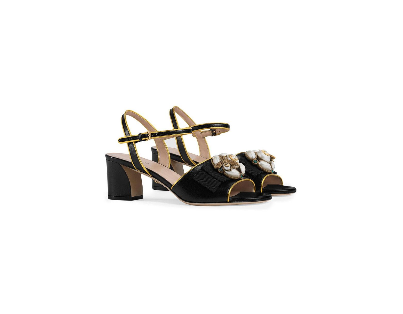 df79cf7ec Gucci Leather Mid-heel Sandal With Bee in Black - Lyst