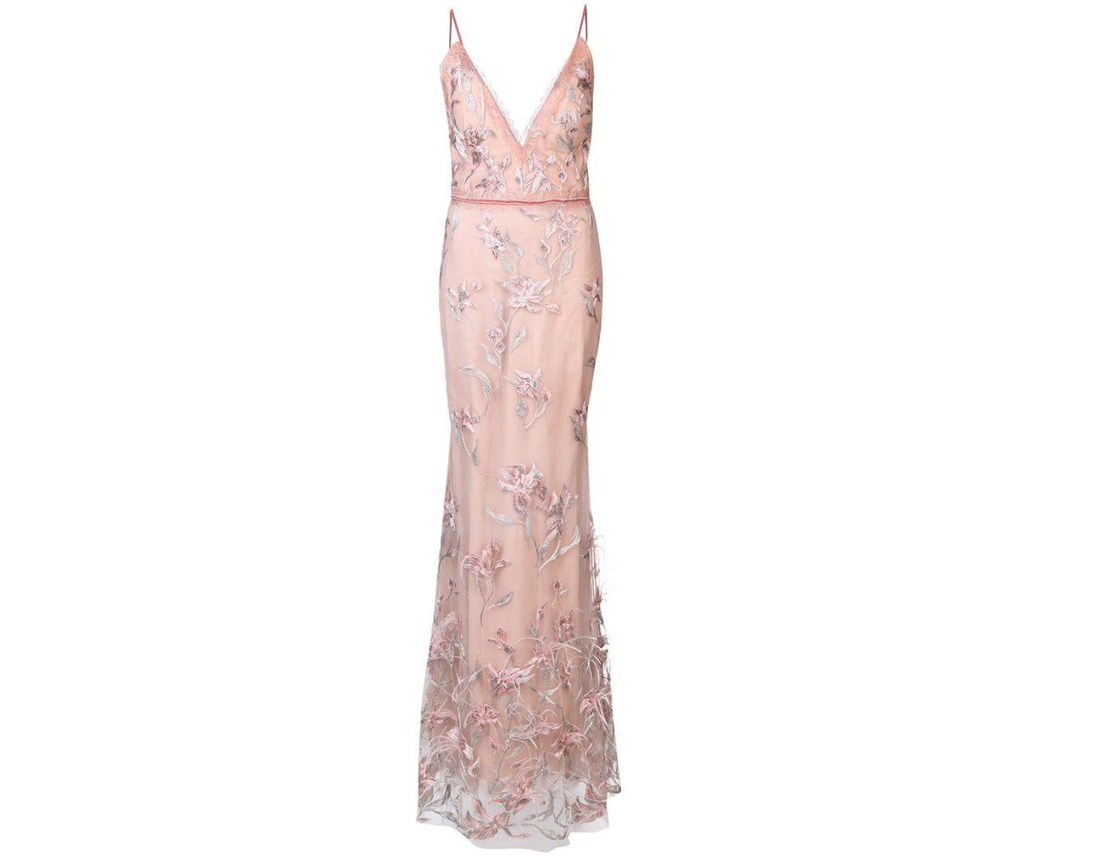 06046617 Marchesa notte Feather Embroidered Sleeveless Gown in Pink - Save 38% - Lyst