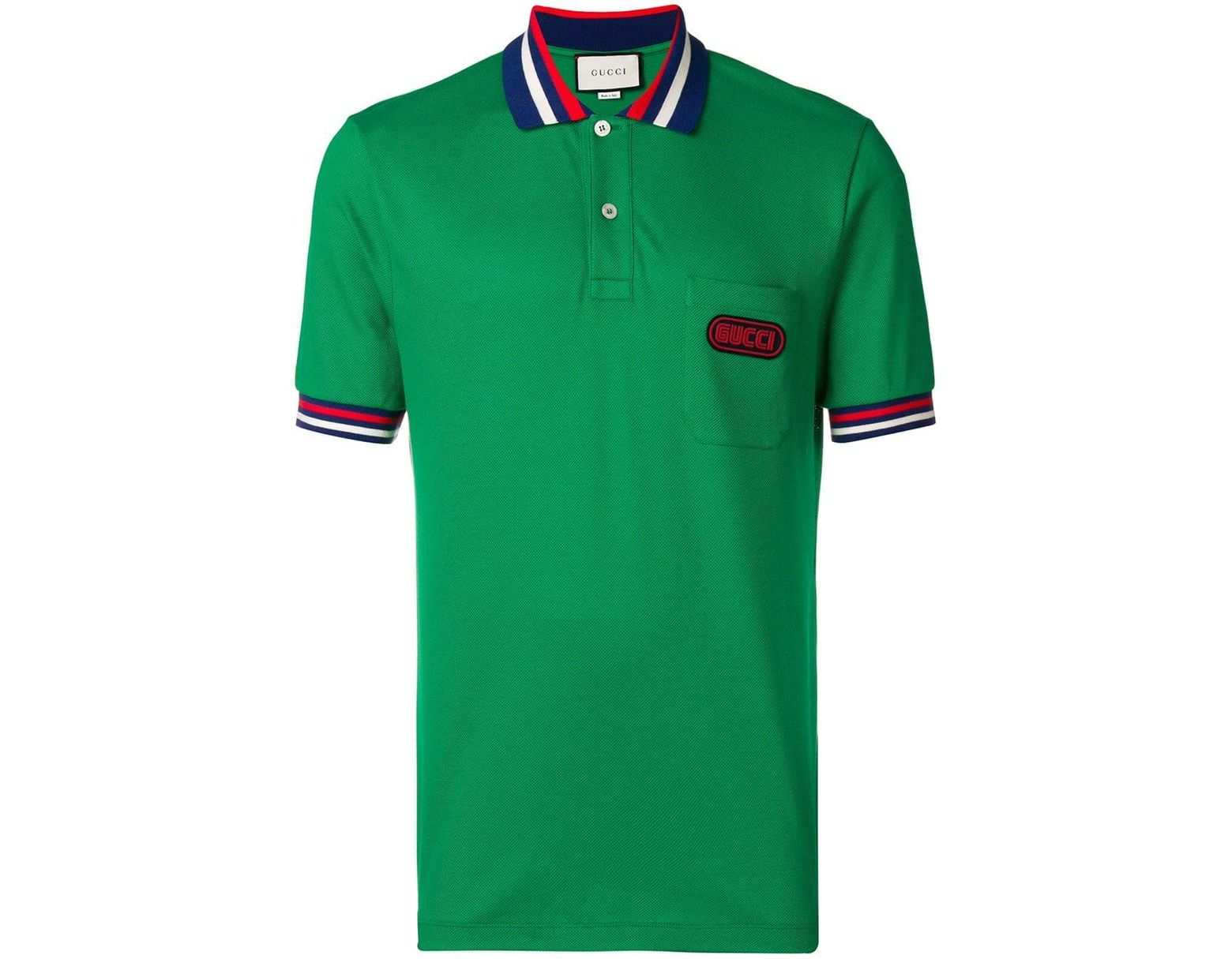 d39483d048f9 Gucci Logo Patch Polo Shirt in Green for Men - Lyst