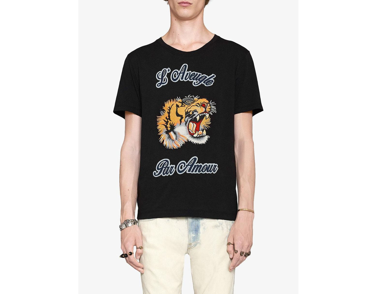 345a7817341 Lyst - Gucci Embellished Cotton-jersey T-shirt in Black for Men - Save 21%