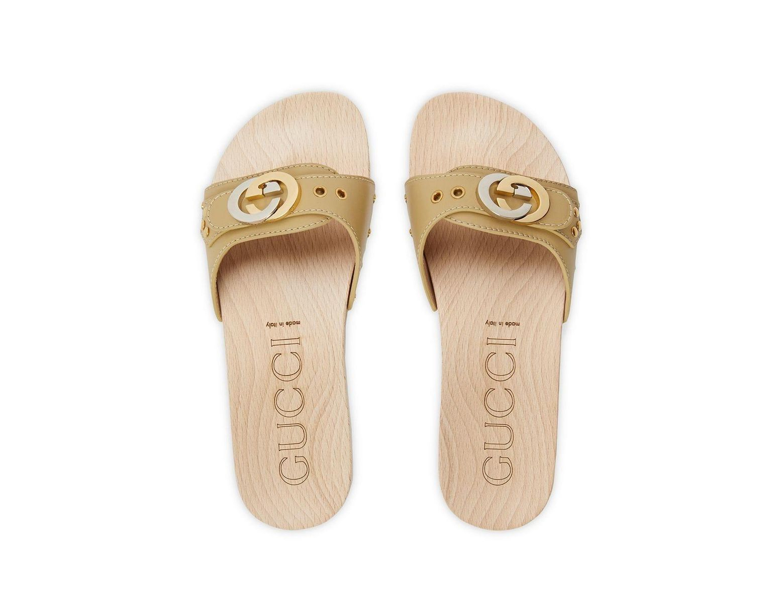 413160c7a Gucci Leather Slide Sandal With Interlocking G in Natural - Lyst
