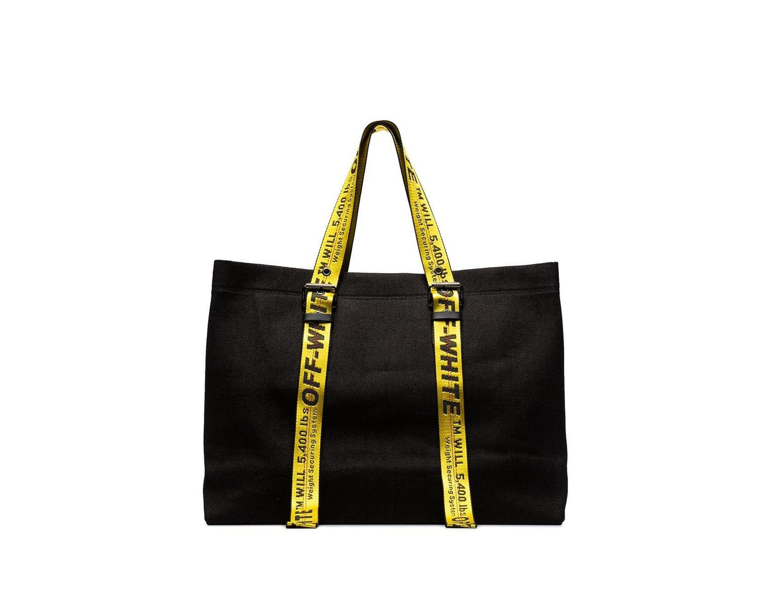 Off White Co Virgil Abloh Black Canvas Tote In Black Save 40 Lyst