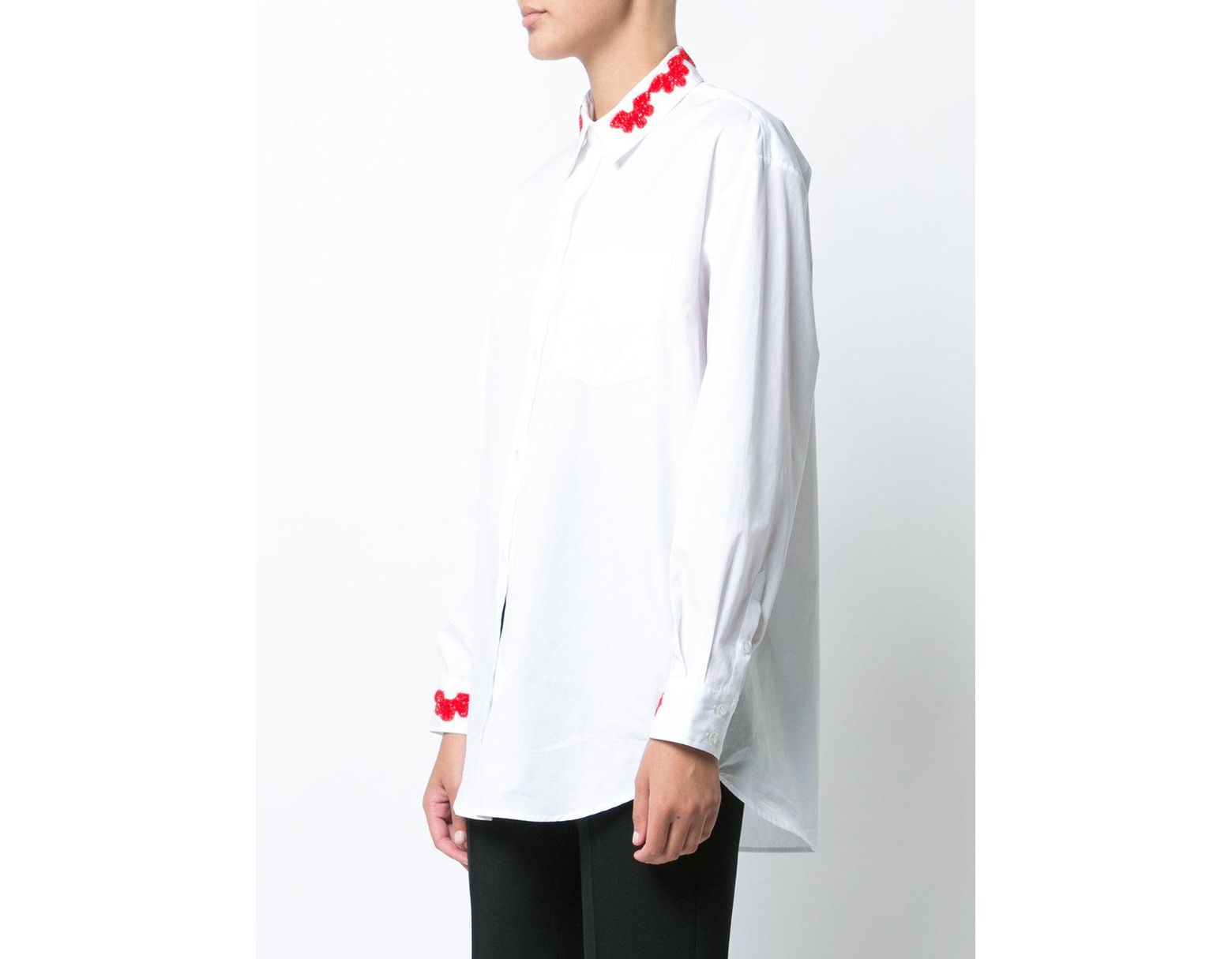 Lyst simone rocha shirt with beaded appliqué in white