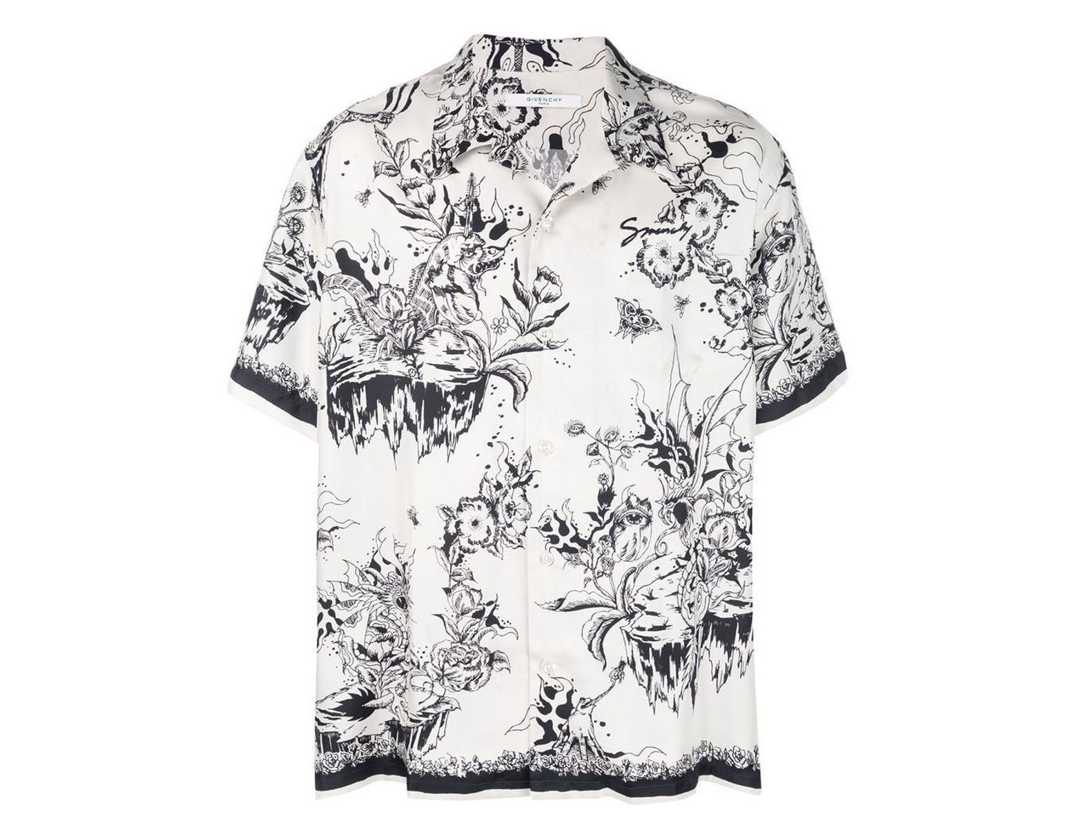 3fea3bad Givenchy Monster Print Hawaiian Shirt in White for Men - Lyst