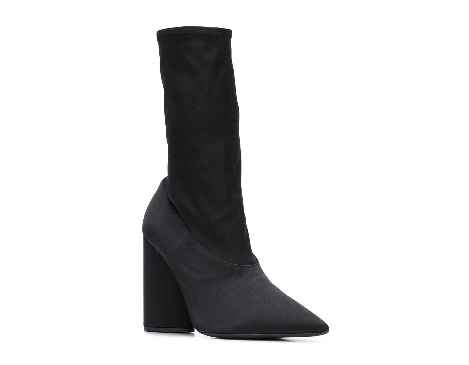 62c91be87f5a Lyst - Yeezy Pointed Block Heel Sock Boots in Black - Save 47%