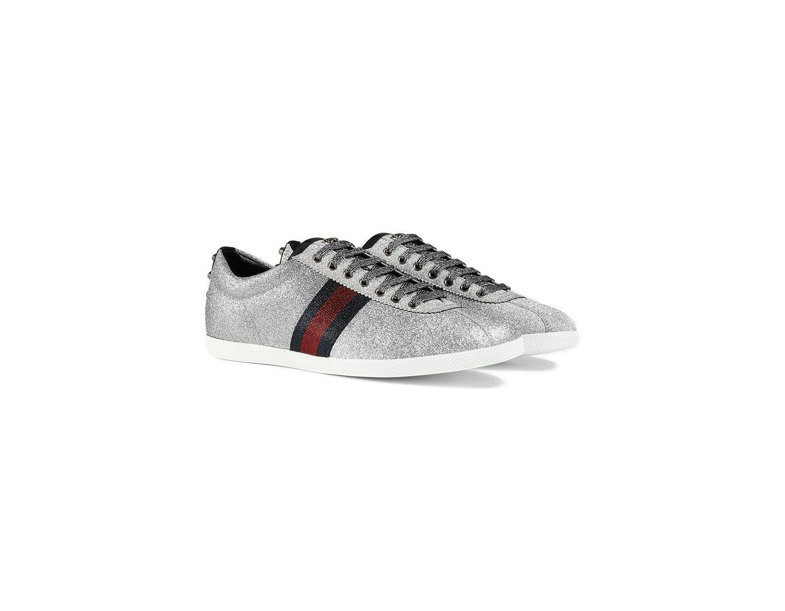 66a4b5686a7 Lyst - Gucci Glitter Web Studded Sneaker in Metallic for Men - Save 6%