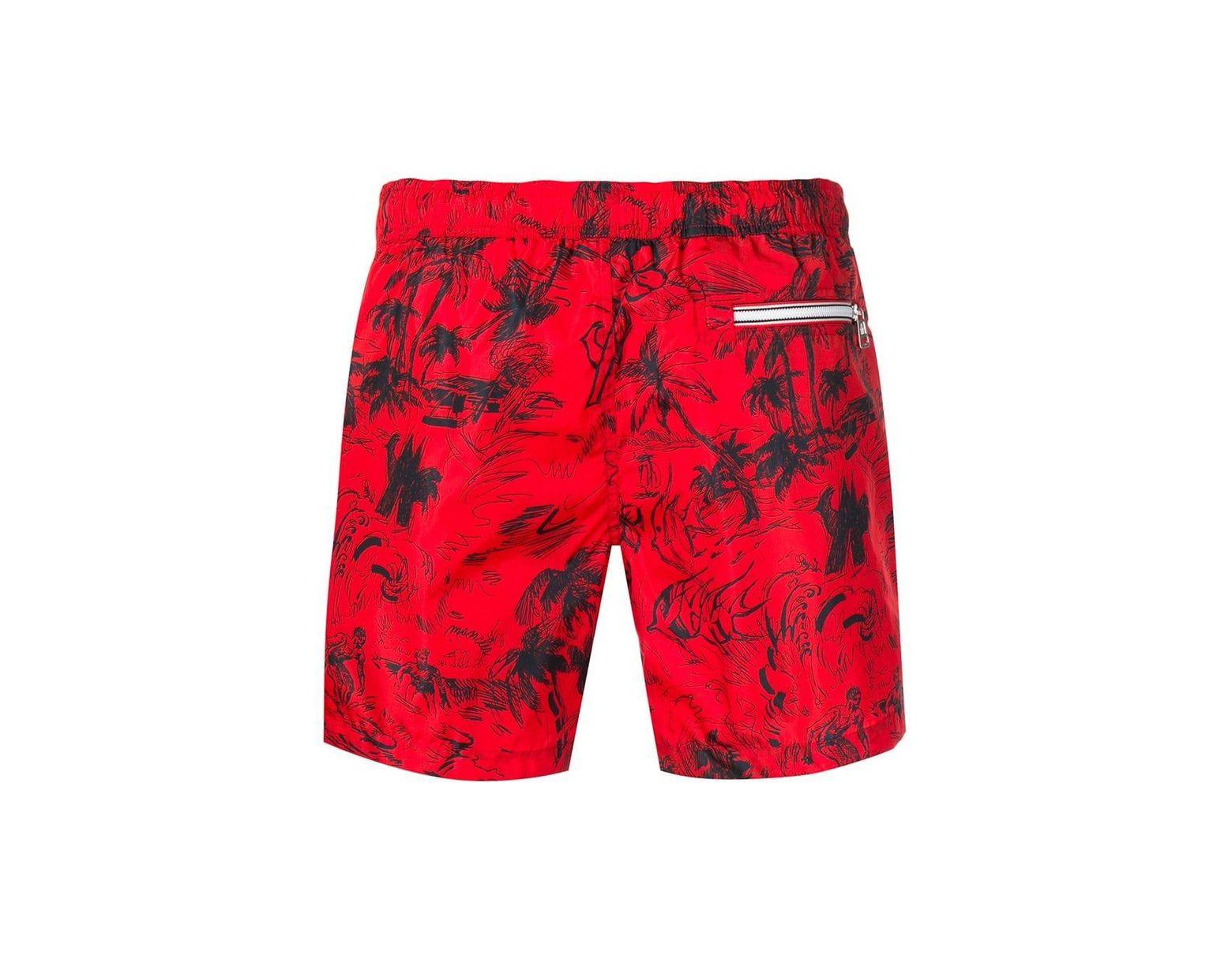 2174c001ec Moncler Scribble Tropical Print Swim Shorts in Red for Men - Lyst