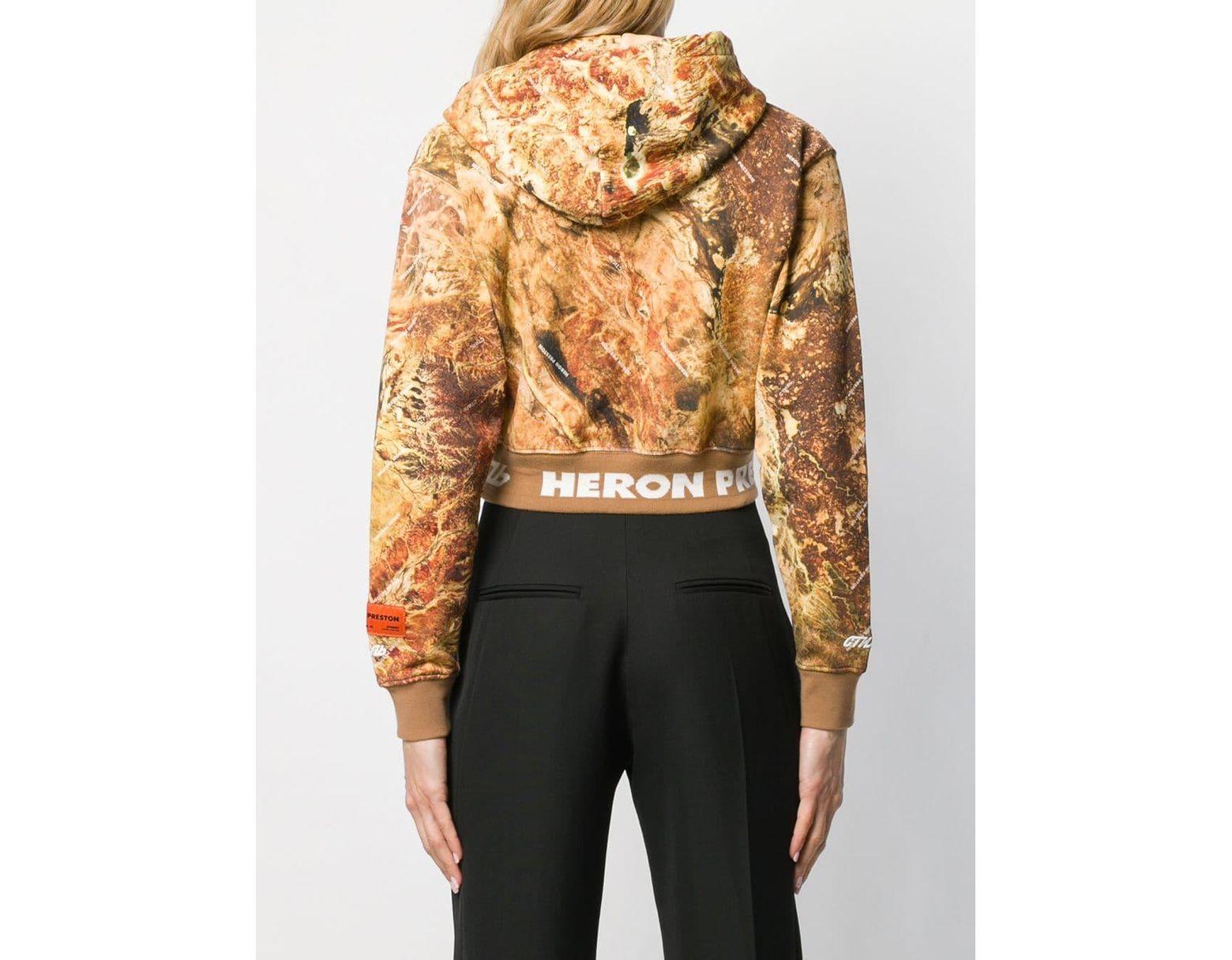 5edca697 Heron Preston Camouflage Print Cropped Hoodie in Brown - Lyst
