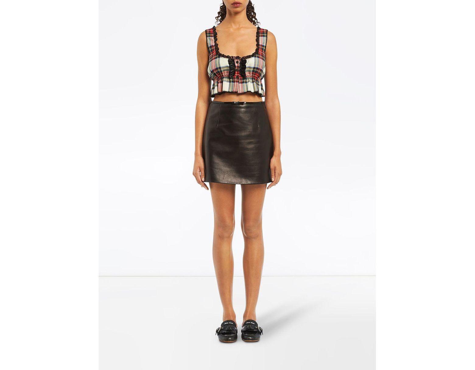 7bf8e56972d Miu Miu A-line Leather Skirt in Black - Lyst
