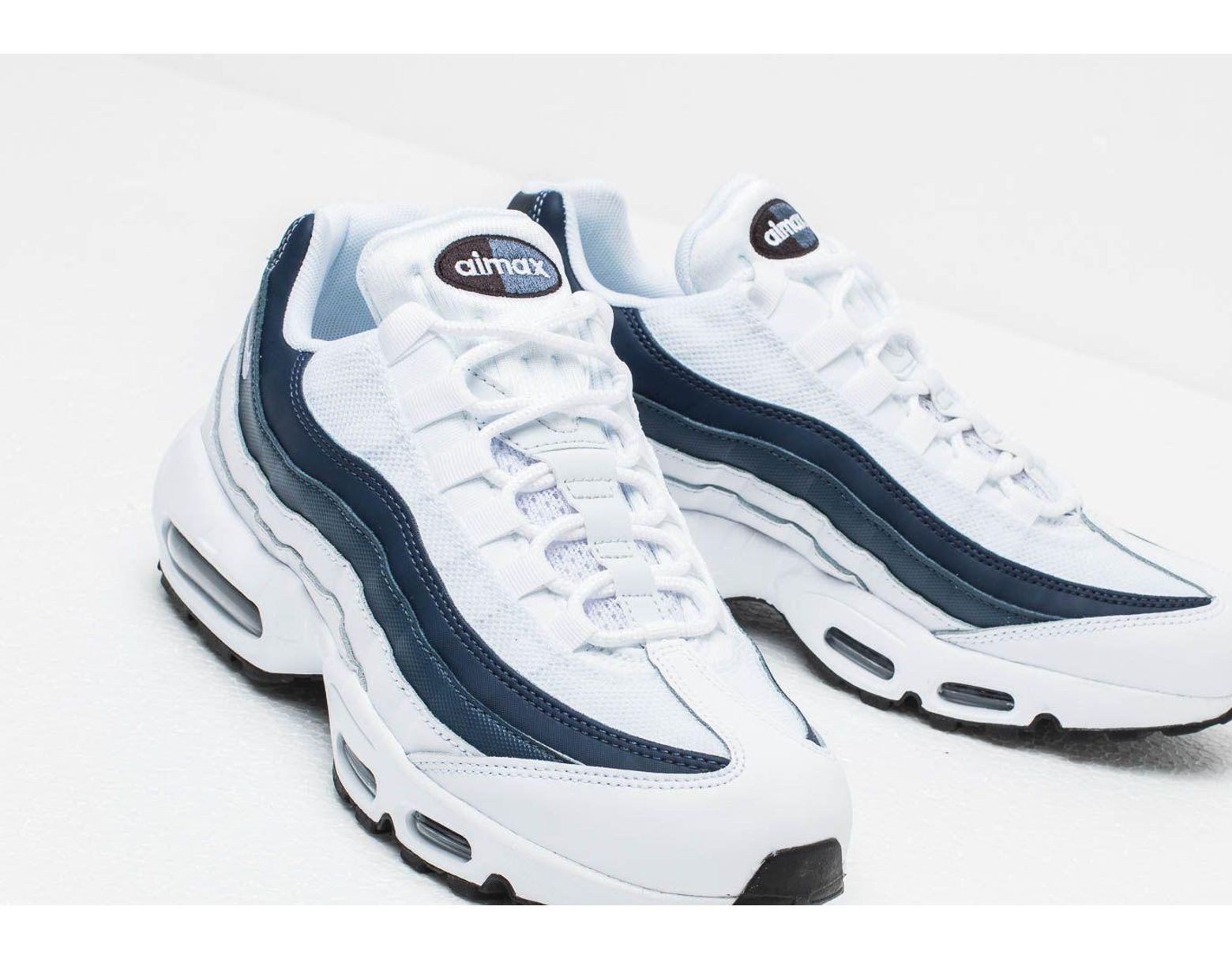 hot sale online 438fd 78e6a Nike Air Max 95 Essential White  White-midnight Navy-monsoon Blue in White  for Men - Lyst