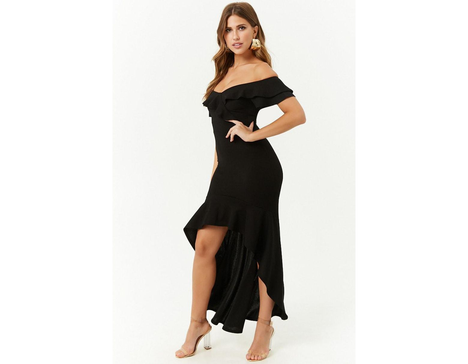 fe22fb0ff0e8 Forever 21 Off-the-shoulder High-low Dress in Black - Lyst