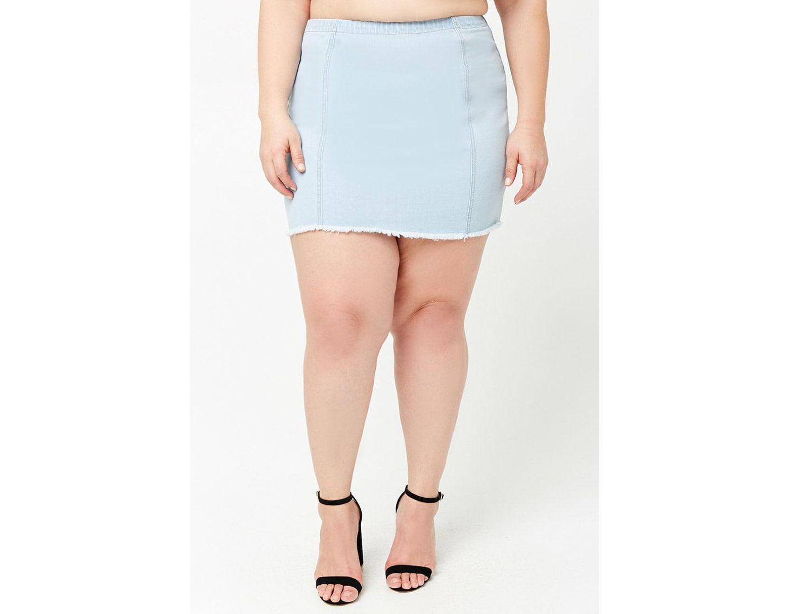 6c9cad7071 Forever 21 Women's Plus Size Frayed Denim Mini Skirt in Blue - Lyst