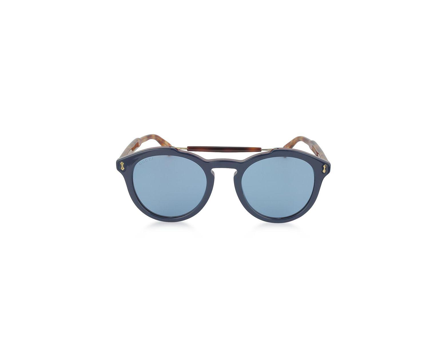 b6900566670 Lyst - Gucci GG0124S Acetate Round Aviator Men s Sunglasses in Blue for Men