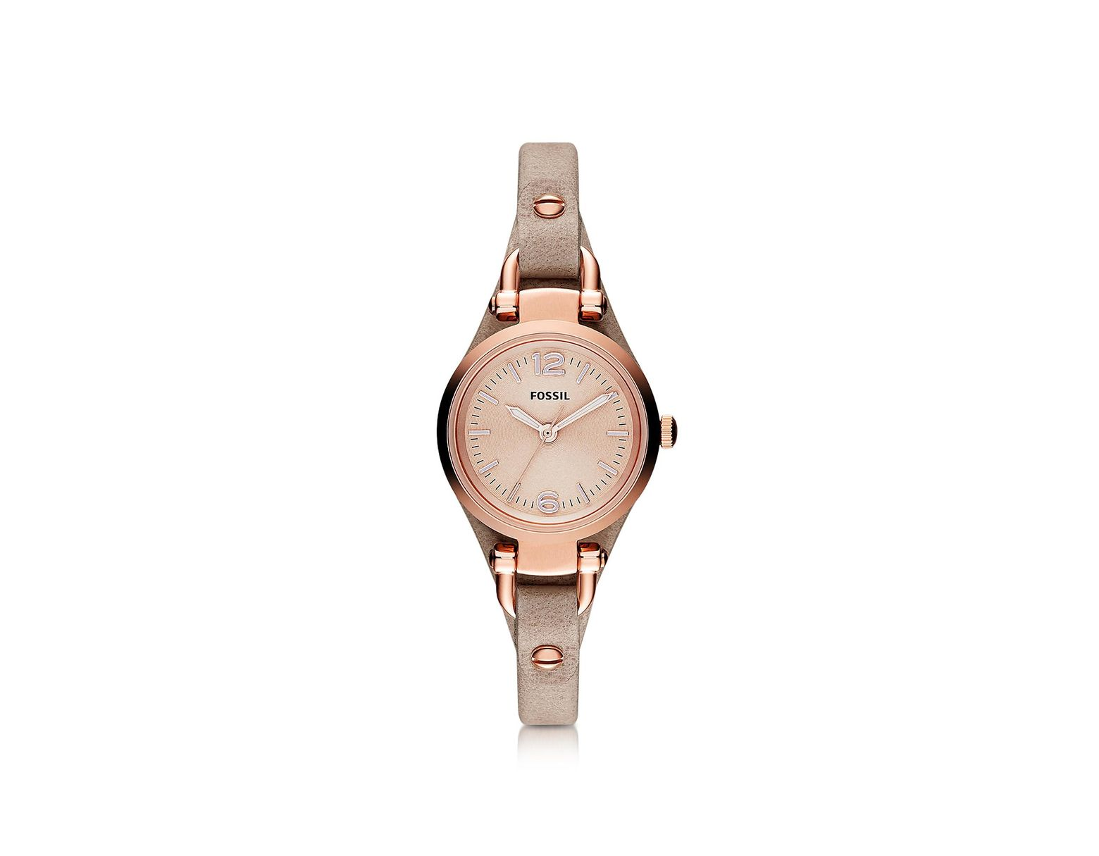 0e594c45a Fossil Georgia Mini Three Hand Sand Leather Women's Watch in Natural - Save  39% - Lyst