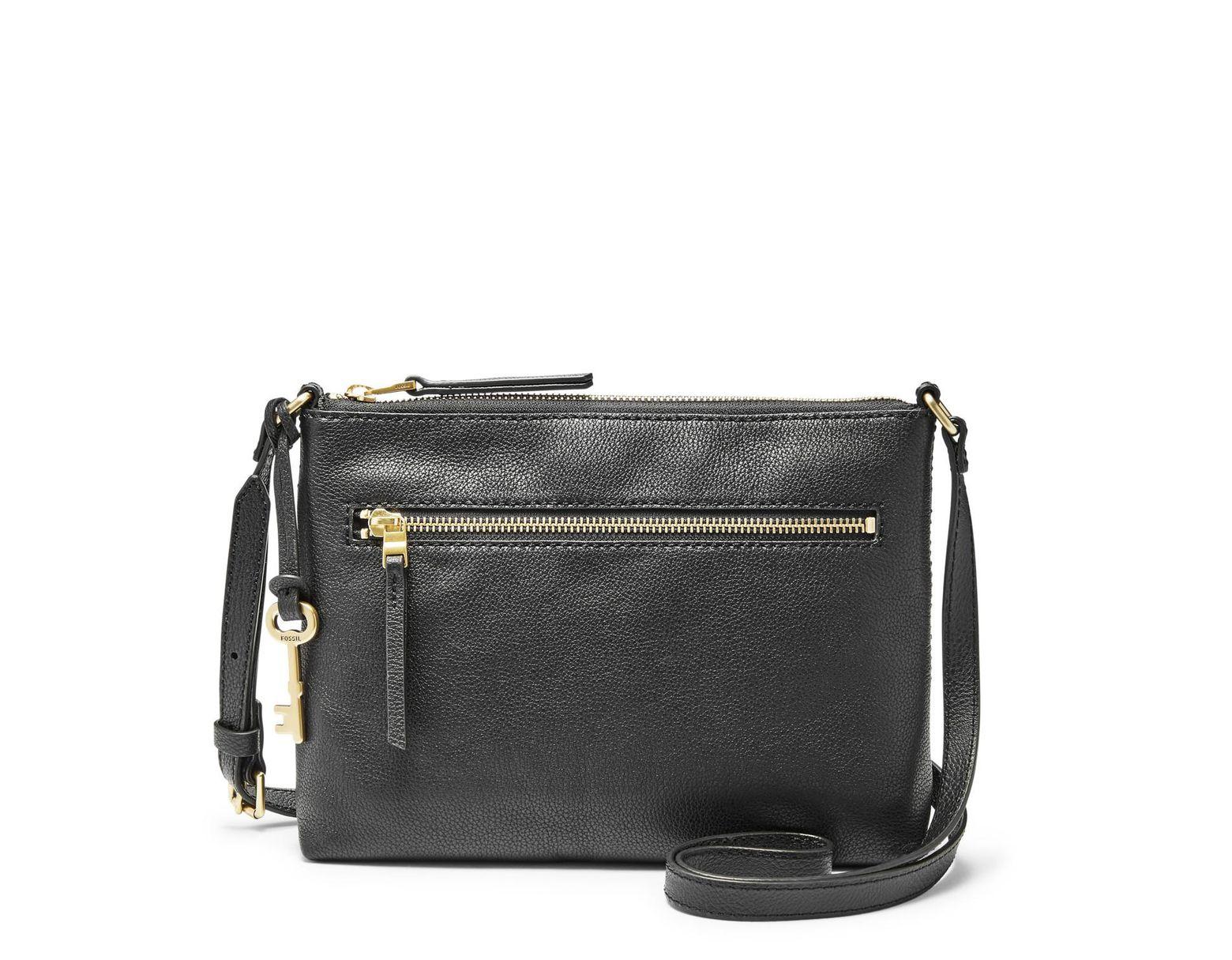 35c1508d0 Fossil Fiona Ew Crossbody Handbags Black in Black - Lyst