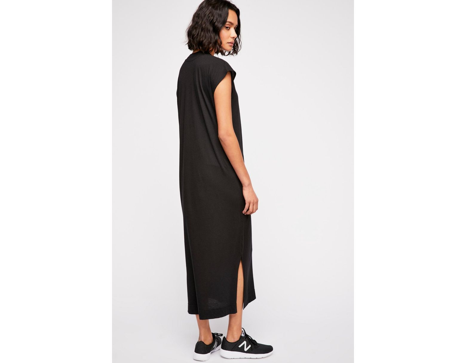 7132ce6853754c Free People All Day Long Midi T-shirt Dress By Fp Beach in Black - Lyst