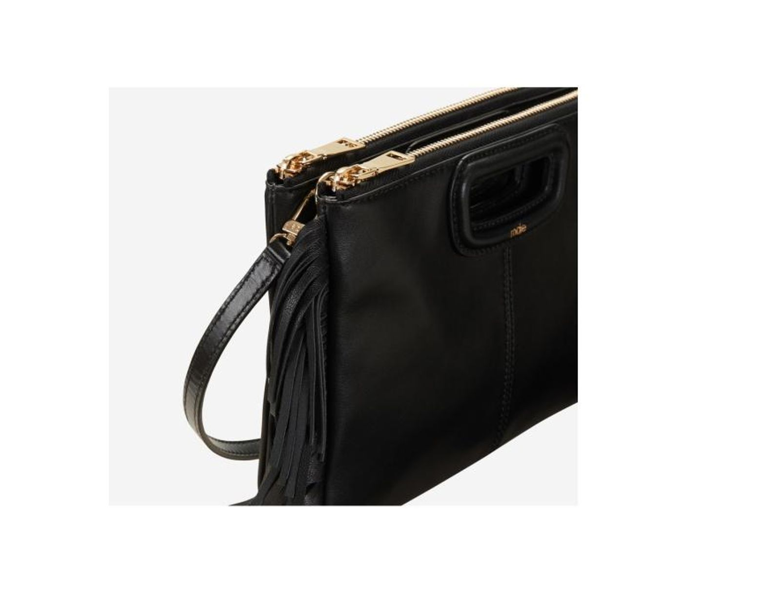 Coloris M Maje En Duo Besace Leather Noir Lyst Sac f7yb6Yg