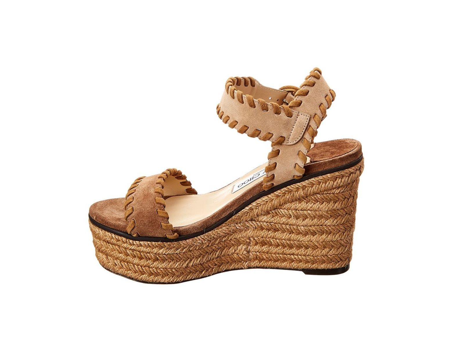 cd8a6cf234 Jimmy Choo Abigail 100 Suede Wedge Sandal in Brown - Save 55% - Lyst