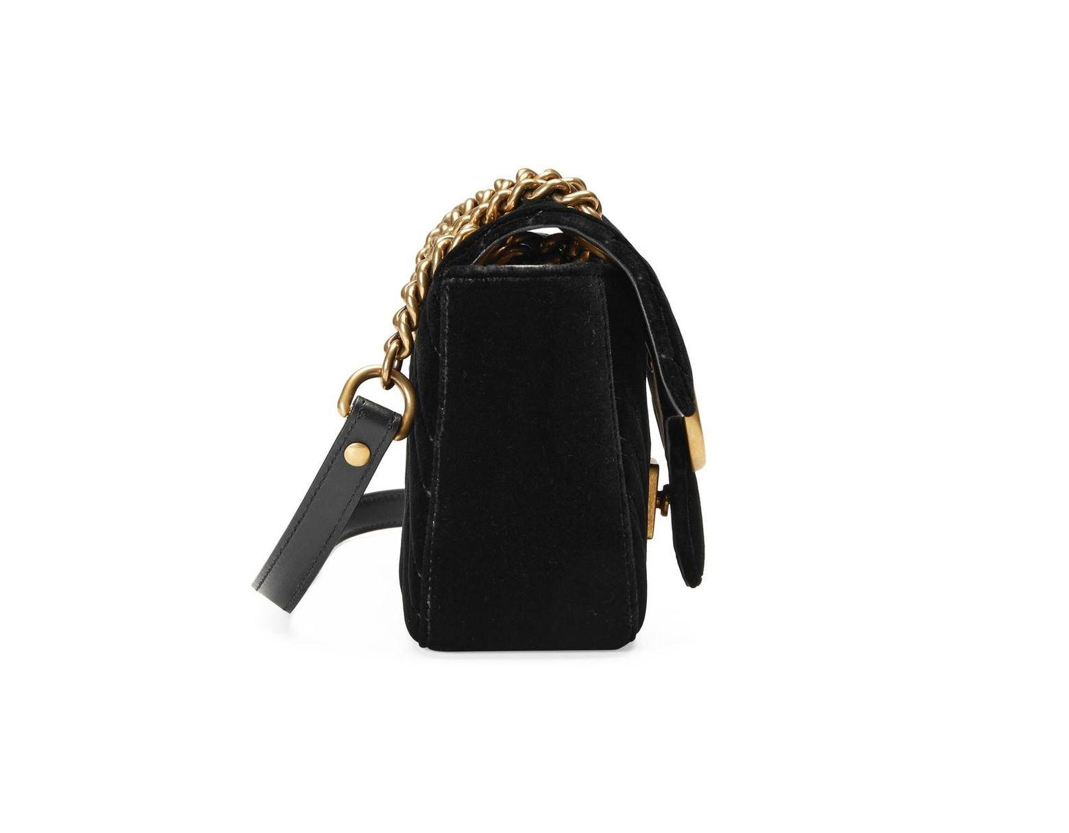 dd08f7a3c2f747 Gucci GG Marmont Velvet Mini Shoulder Bag in Black - Lyst