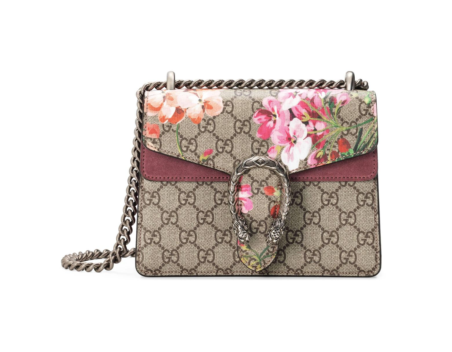 1caa023ba Gucci Dionysus Gg Blooms Mini Bag in Natural - Lyst