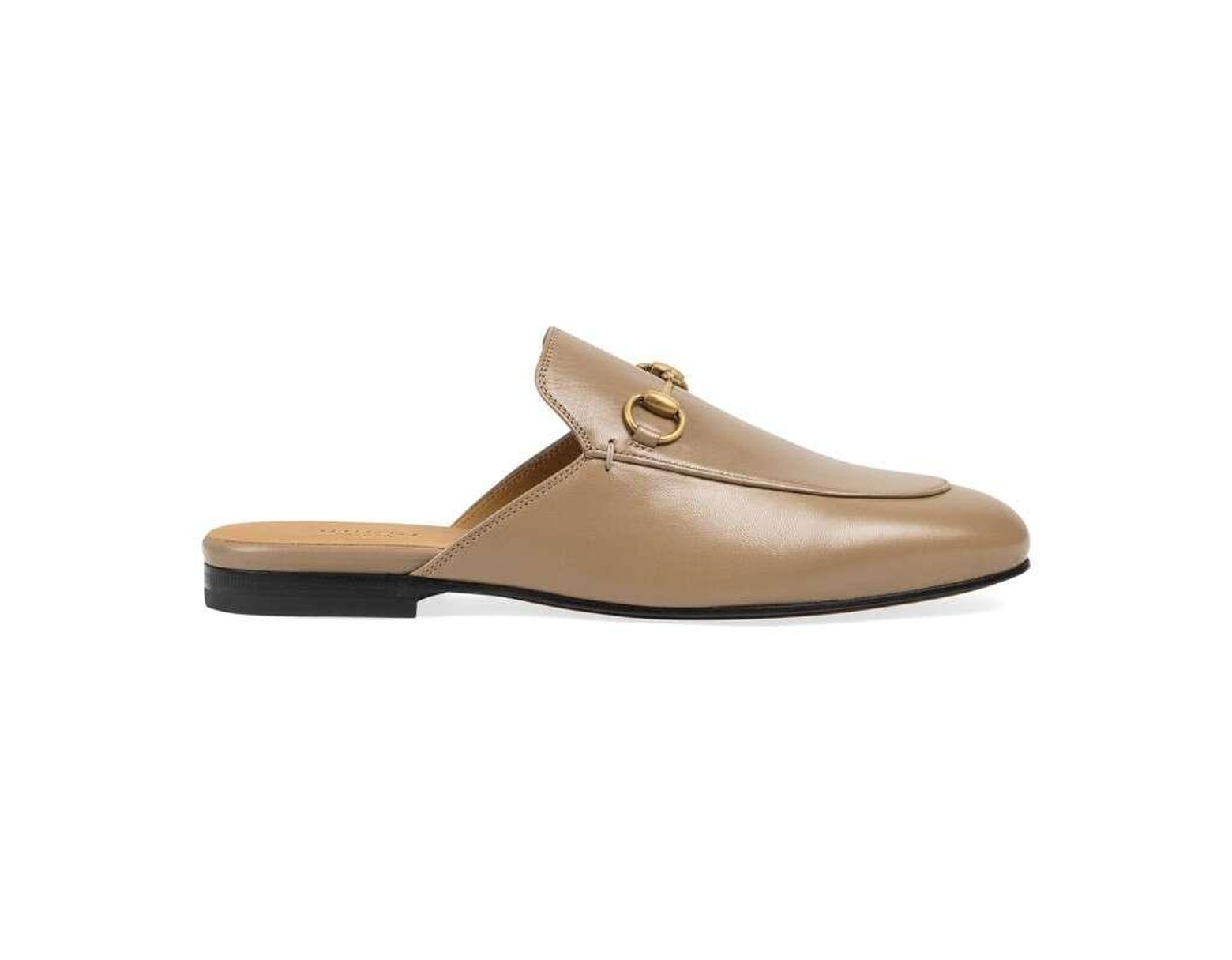 809042a7d08d Gucci Women's Princetown Leather Slipper in Brown - Save 24% - Lyst