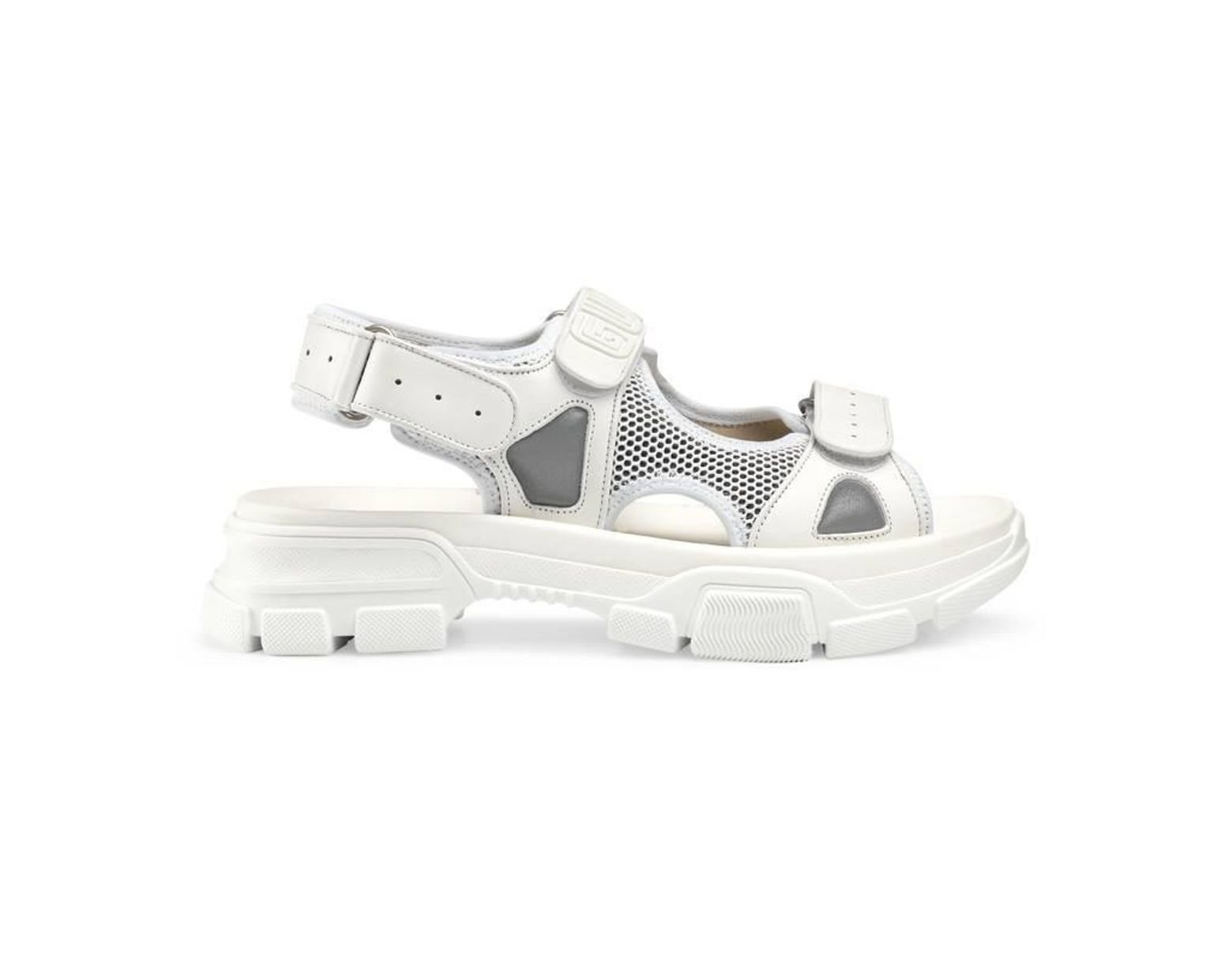 1efcad274 Gucci Leather And Mesh Sandals in White for Men - Lyst