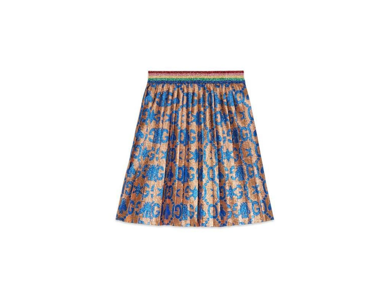 a0365c4af4 Gucci - Children's GG Bees And Stars Jacquard Skirt in Blue - Lyst