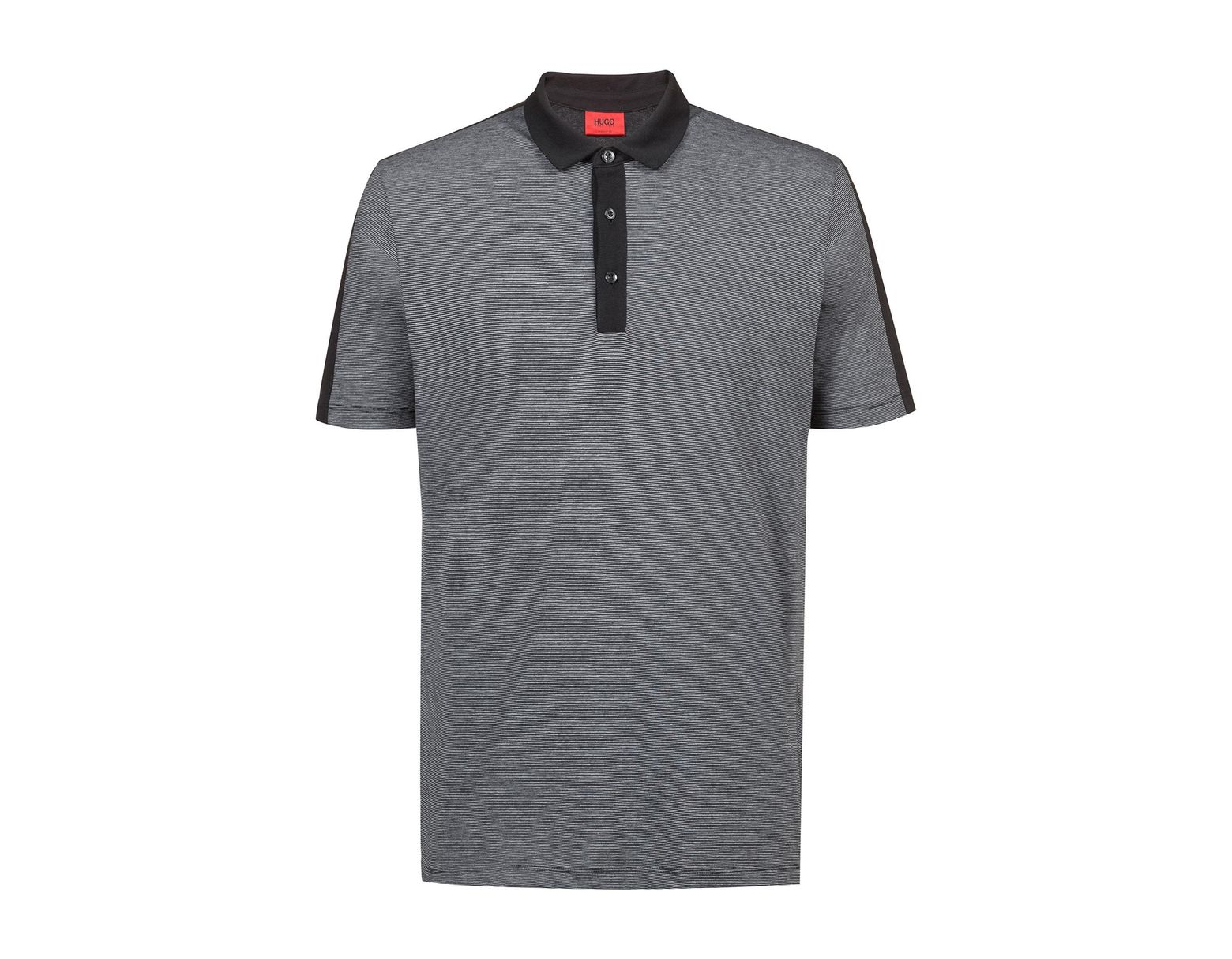 1b16c420 HUGO Regular-fit Polo Shirt In Finely Striped Pima Cotton in Black for Men  - Save 30% - Lyst