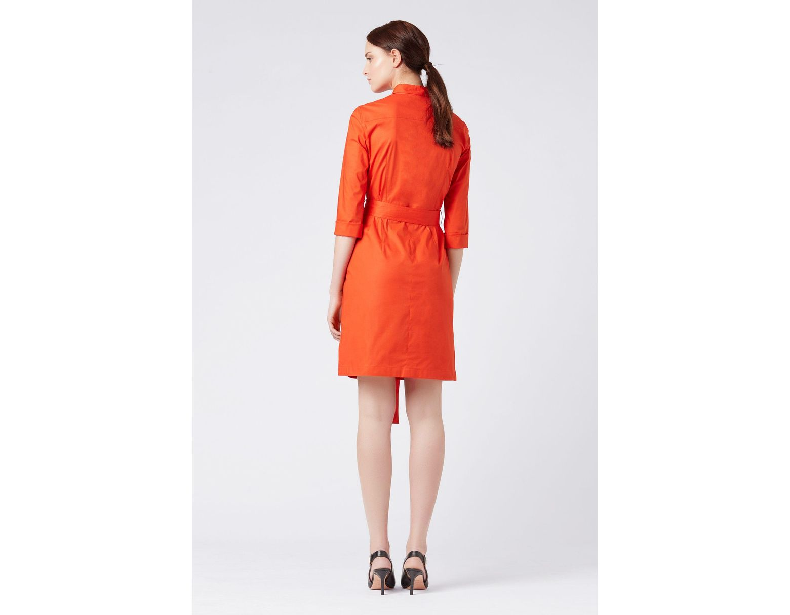 1fdb7de37 BOSS Belted Shirt Dress In Stretch Cotton With Point Collar in Red - Lyst