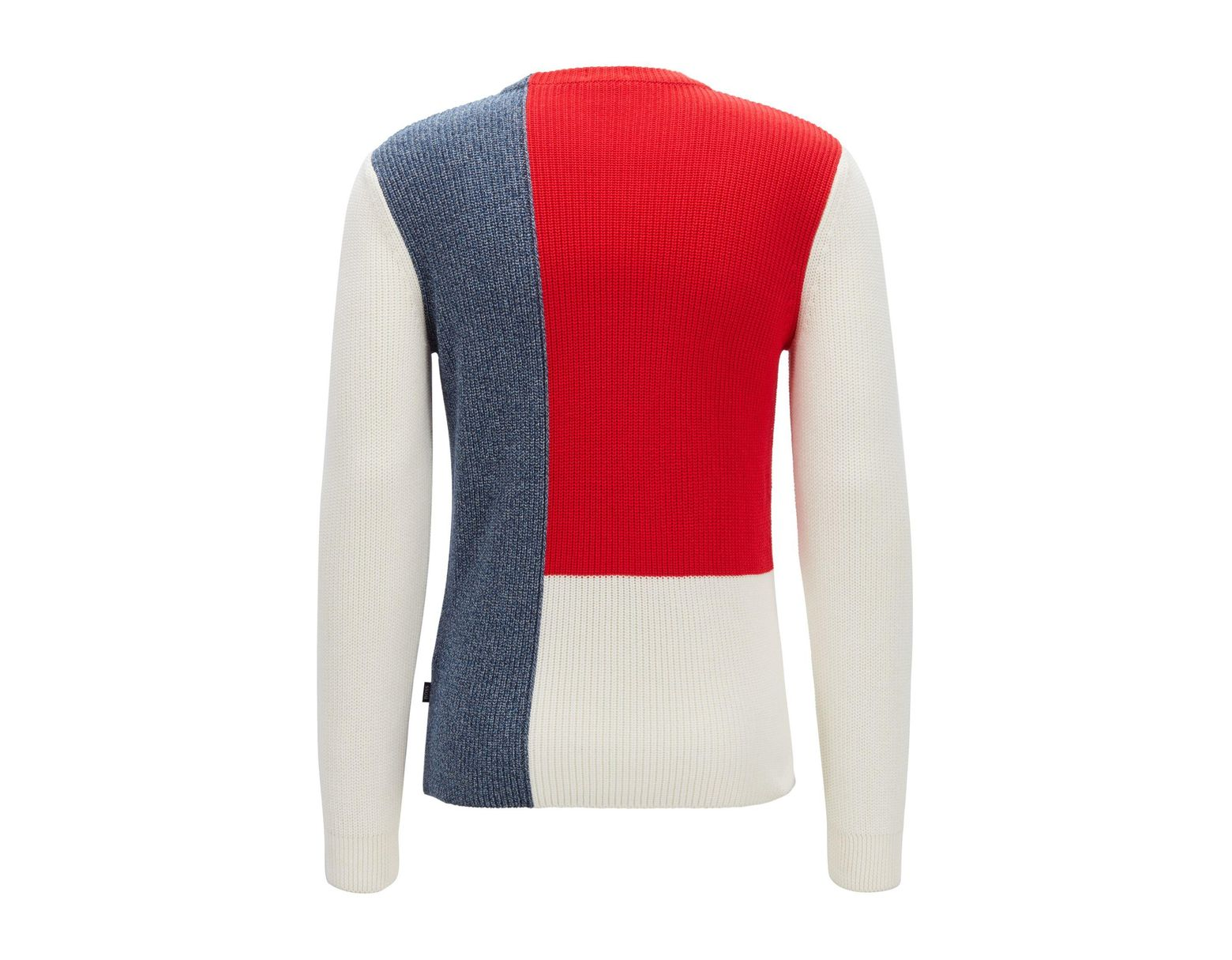 625e155ef94 BOSS Regular-fit Sweater In Cotton With Colour-block Construction in White  for Men - Lyst