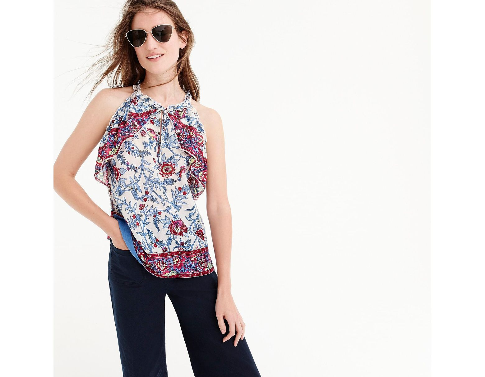 b1c7216e8f98fb J.Crew Point Sur Ruffle Block Print Top in Blue - Lyst