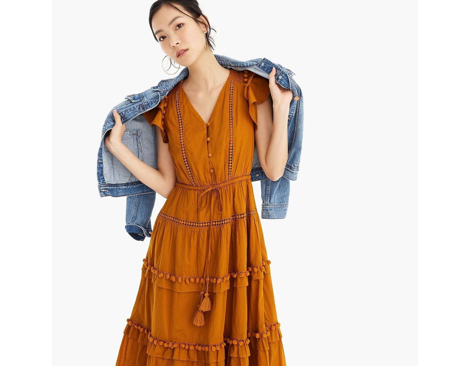 9898f3e776 J.Crew Point Sur Flutter-sleeve Pom-pom Midi Dress In Cotton Voile in  Orange - Lyst