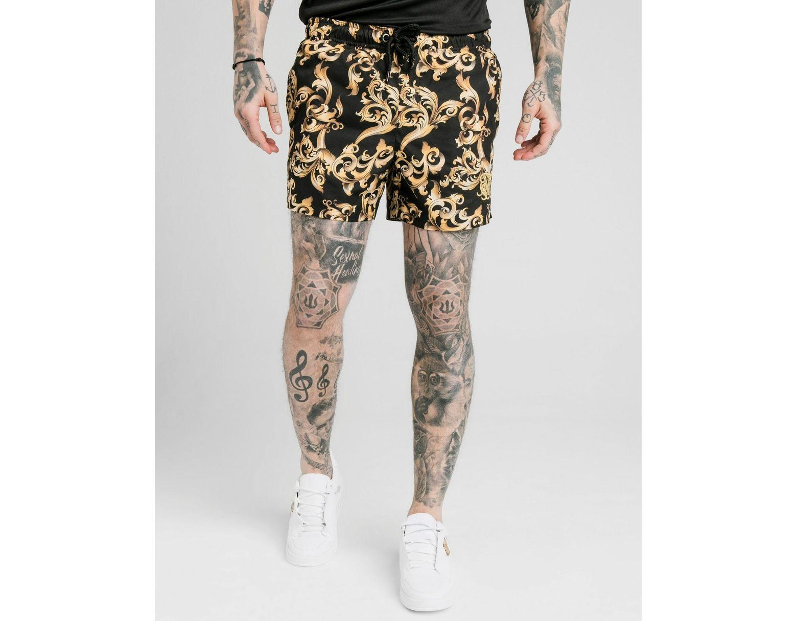 be52c84626 SIKSILK Venetian Swim Shorts in Black for Men - Save 43% - Lyst