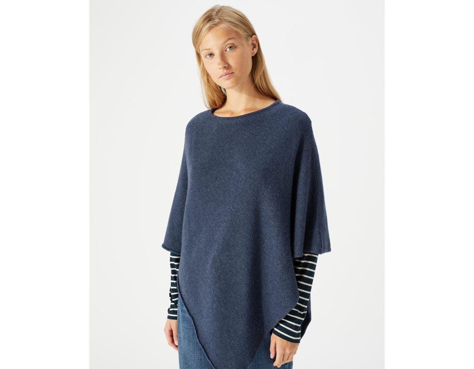 b3803b5a7 Jigsaw Wool Cashmere Blend Rolled Poncho in Blue - Save 20% - Lyst