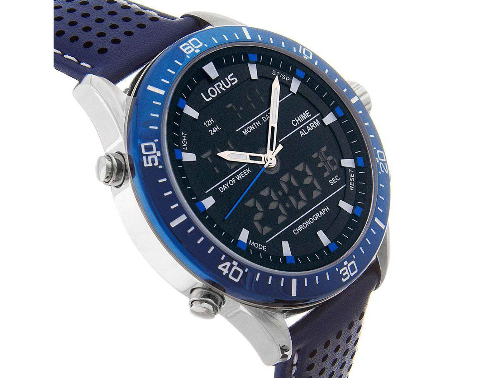 fabf40593 Lorus Rw643ax9 Men's Analogue/digital Chronograph Sports Leather Strap  Watch in Blue for Men - Lyst