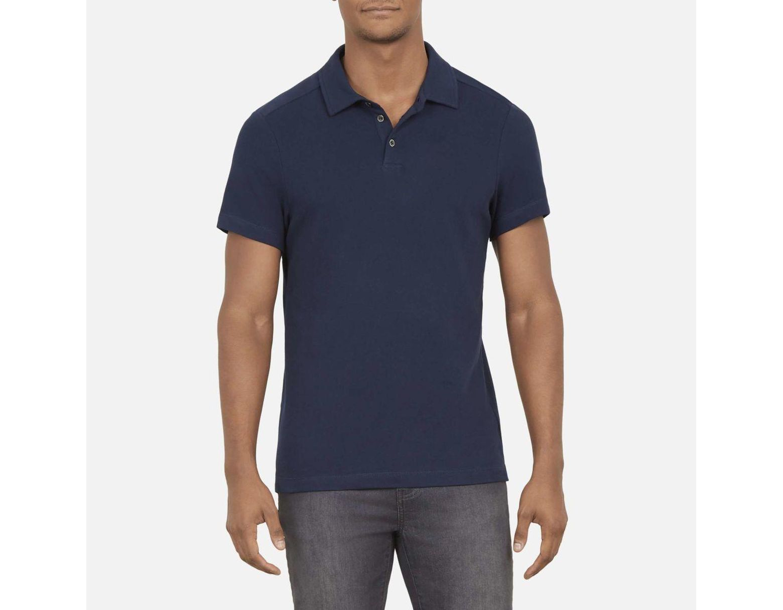 e3ded7a67 Kenneth Cole Solid Short Sleeved Polo Shirt In Stretch Cotton in Blue for  Men - Lyst