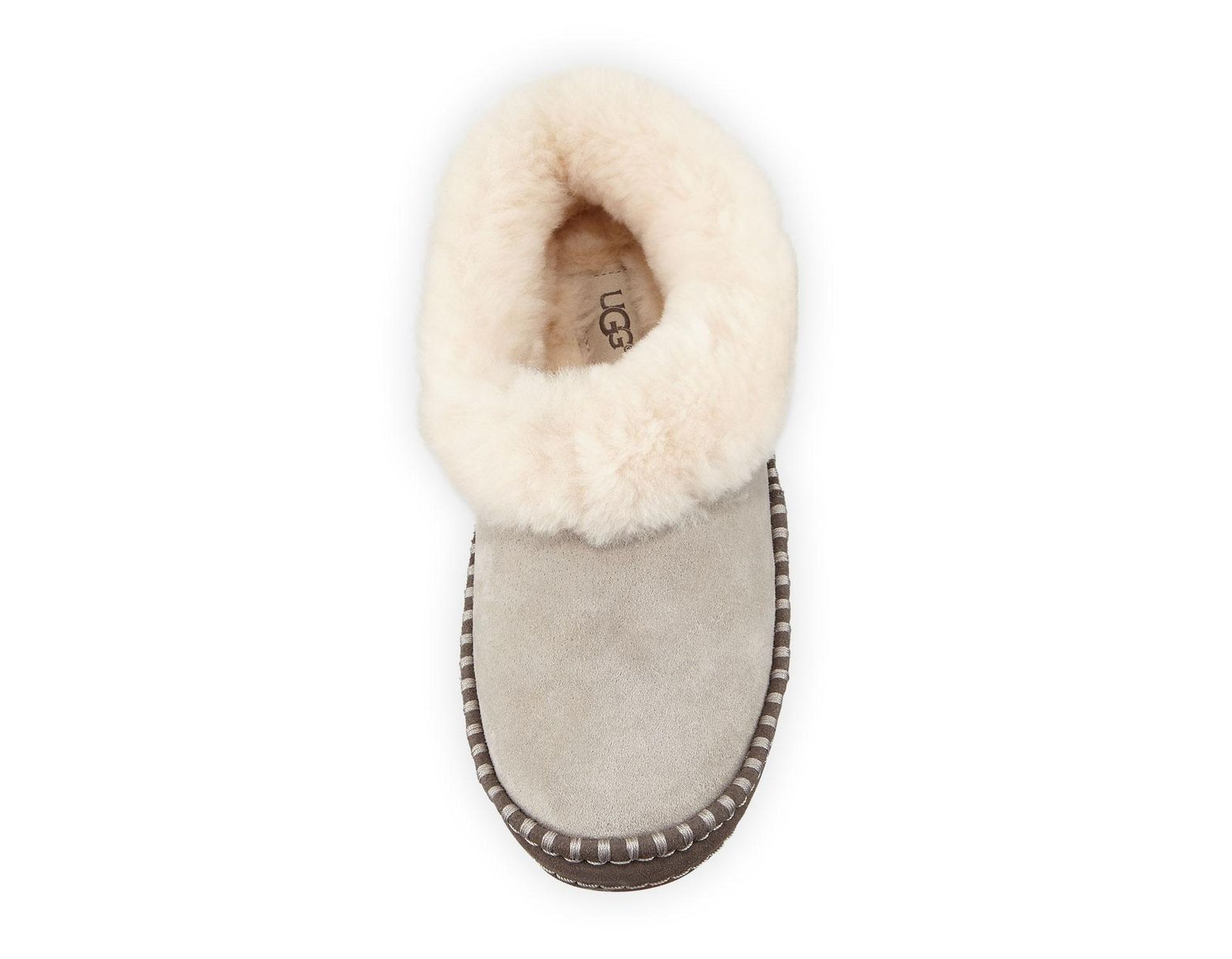 ea186063e UGG Wrin Suede Slippers With Fur Collar in Gray - Lyst