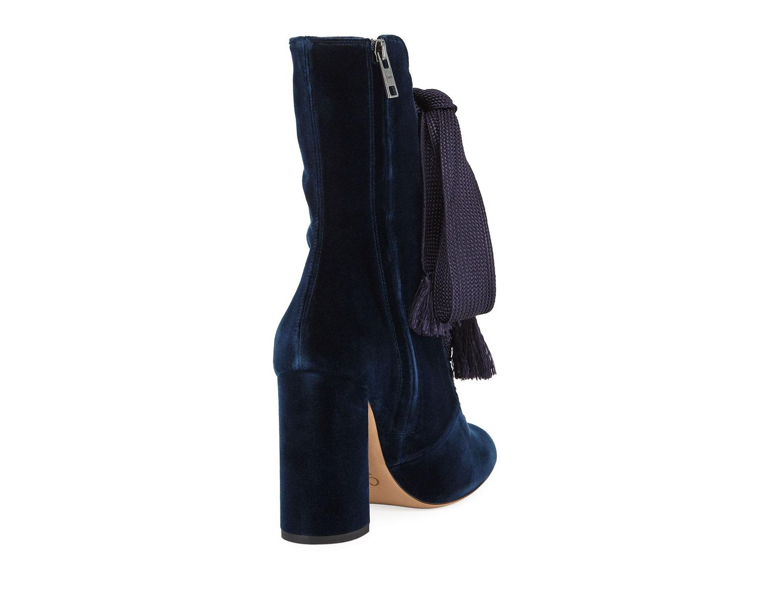 14690724a5 Chloé Harper Velvet Lace-up Chunky High-heel Booties in Blue - Lyst