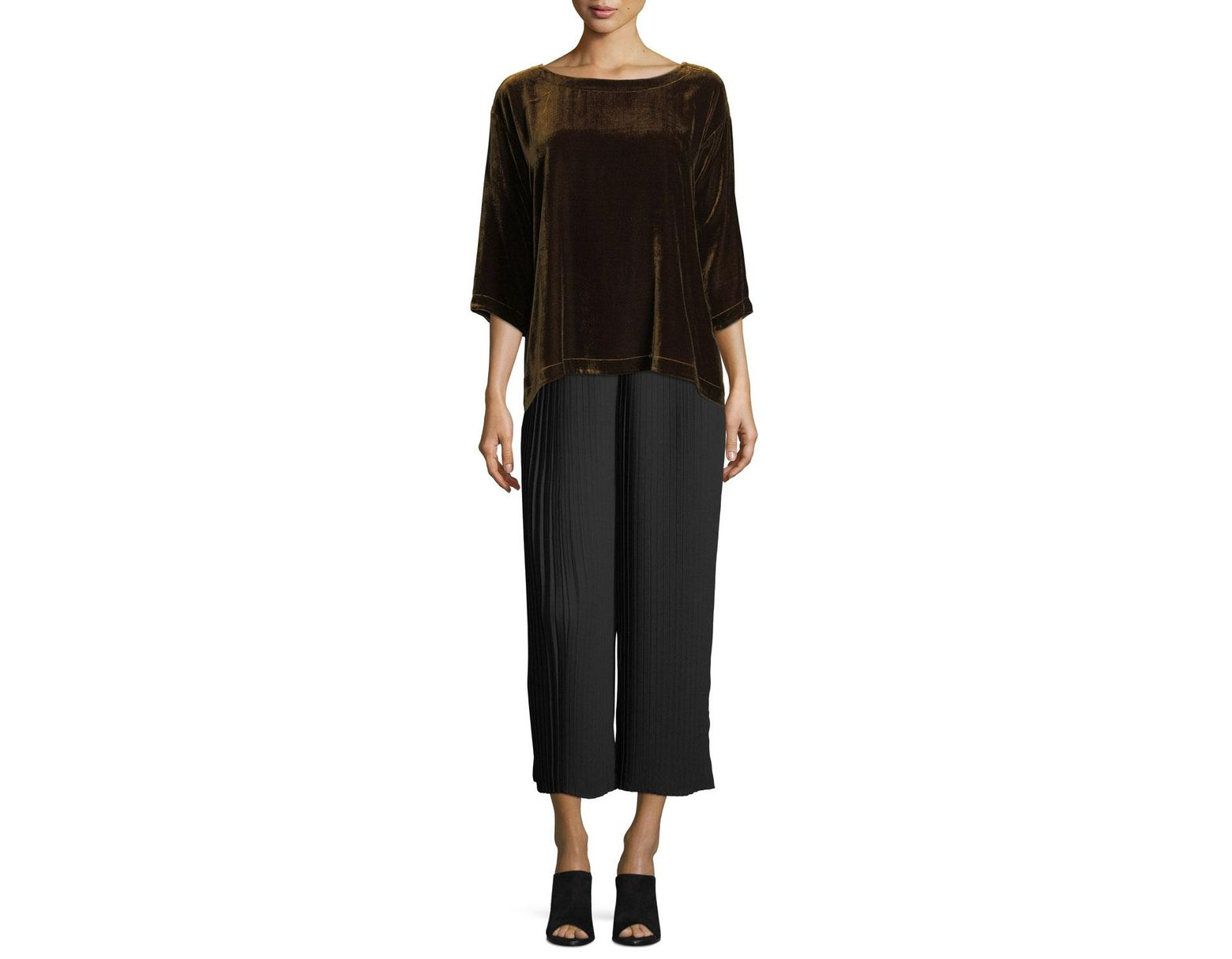 10bb08e523 Eileen Fisher Knife-pleated Wide-leg Ankle Pants in Black - Save 35% - Lyst