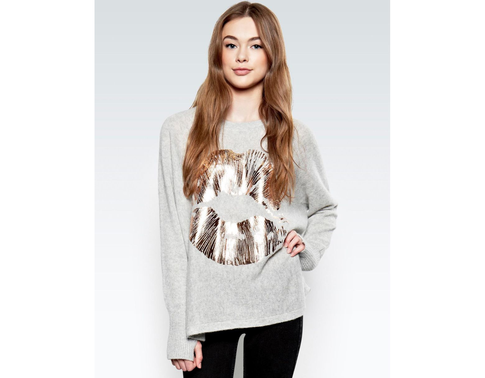 02cabee2c Lauren Moshi Hollis Rose Gold Foil Lip L/s Cashmere Pullover Sweater  W/thumbholes in Gray - Lyst
