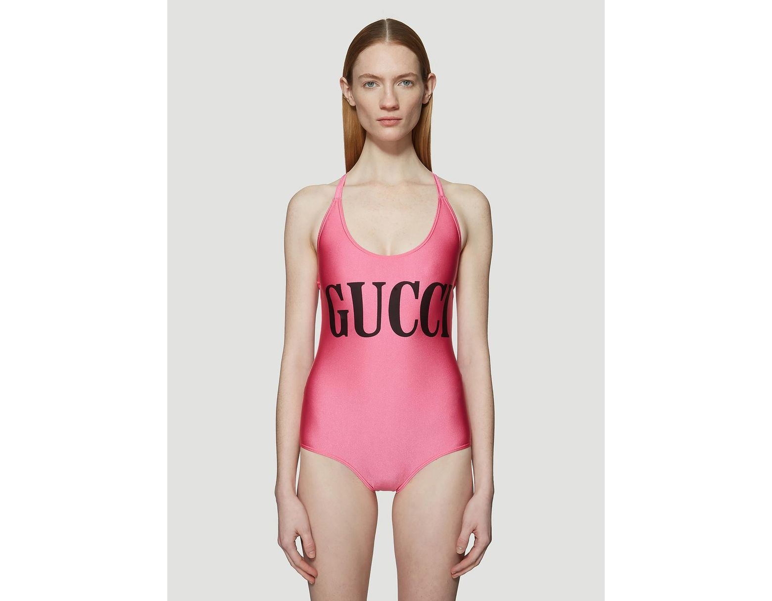 94f438954e158 Gucci Logo Print Lycra One Piece Swimsuit in Pink - Save 37% - Lyst