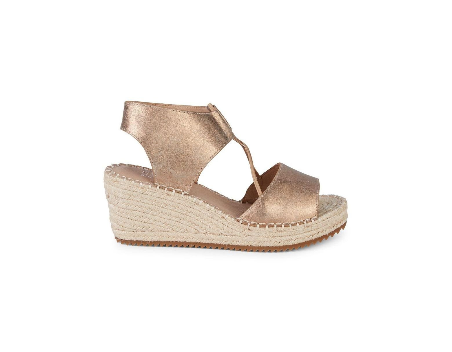 fb7eb2f0a Eileen Fisher Agnes Metallic Suede Espadrille Wedge Sandals in Metallic -  Save 53% - Lyst