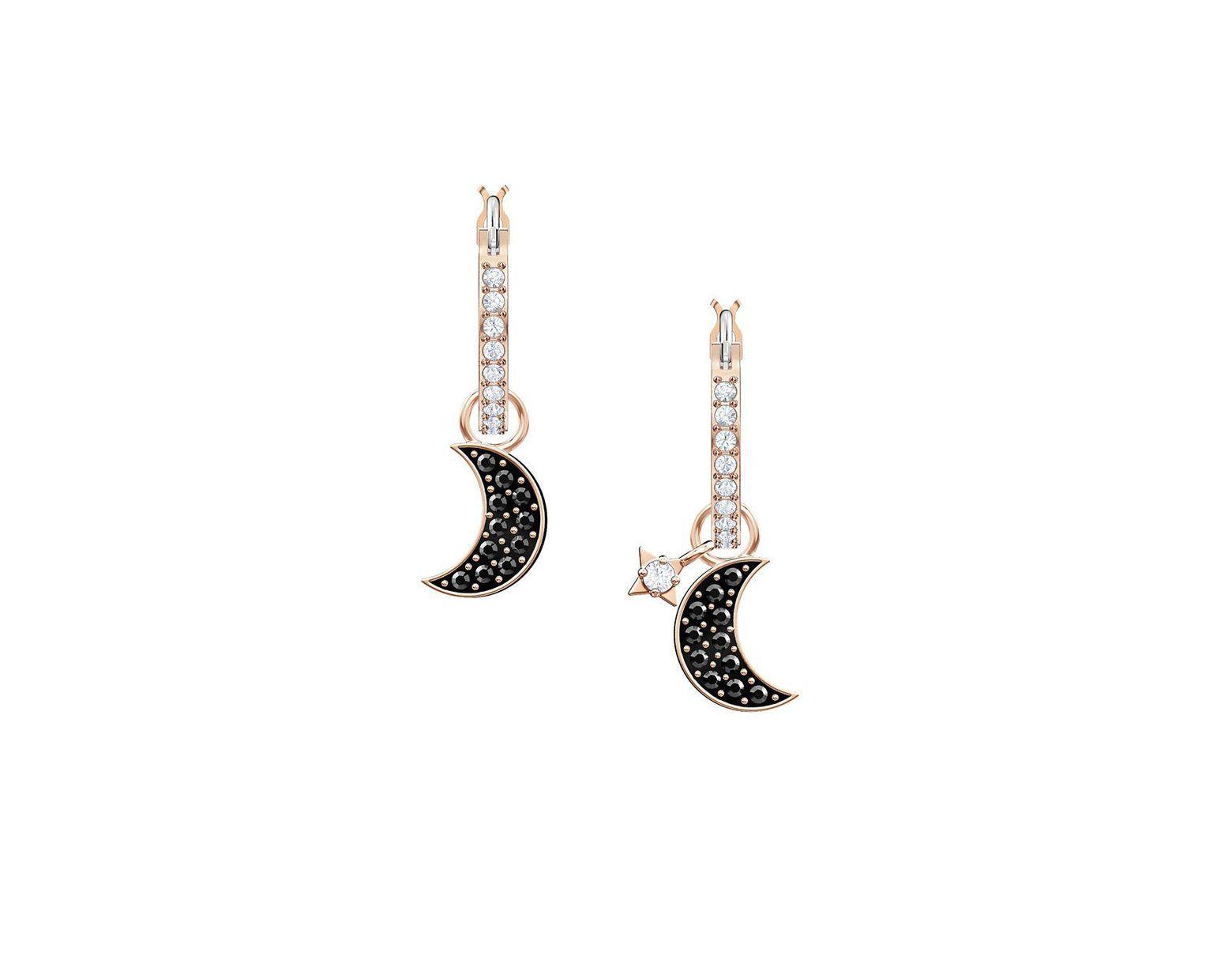 eebee20bc Swarovski 2-in-1 Duo Moon Hoop Drop Earrings - Lyst