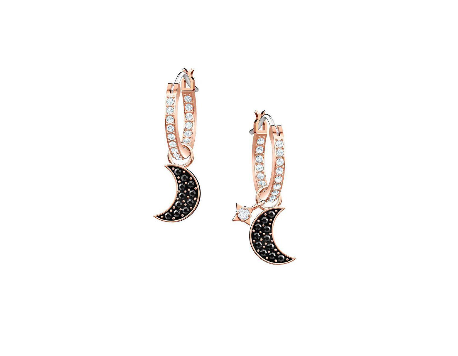 26468c97a Swarovski Symbolic Moon Hoop Pierced Earrings - Lyst