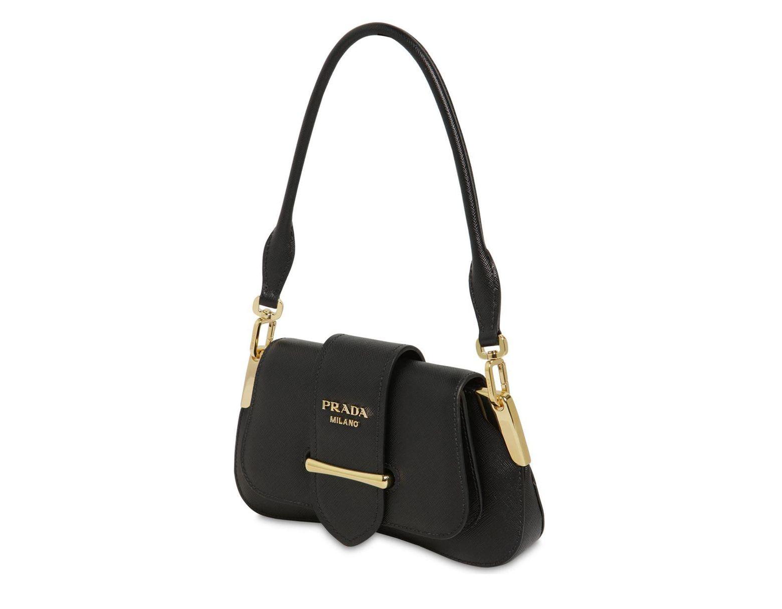 74d006119 Prada Small Sidonie Saffiano Shoulder Bag in Black - Lyst
