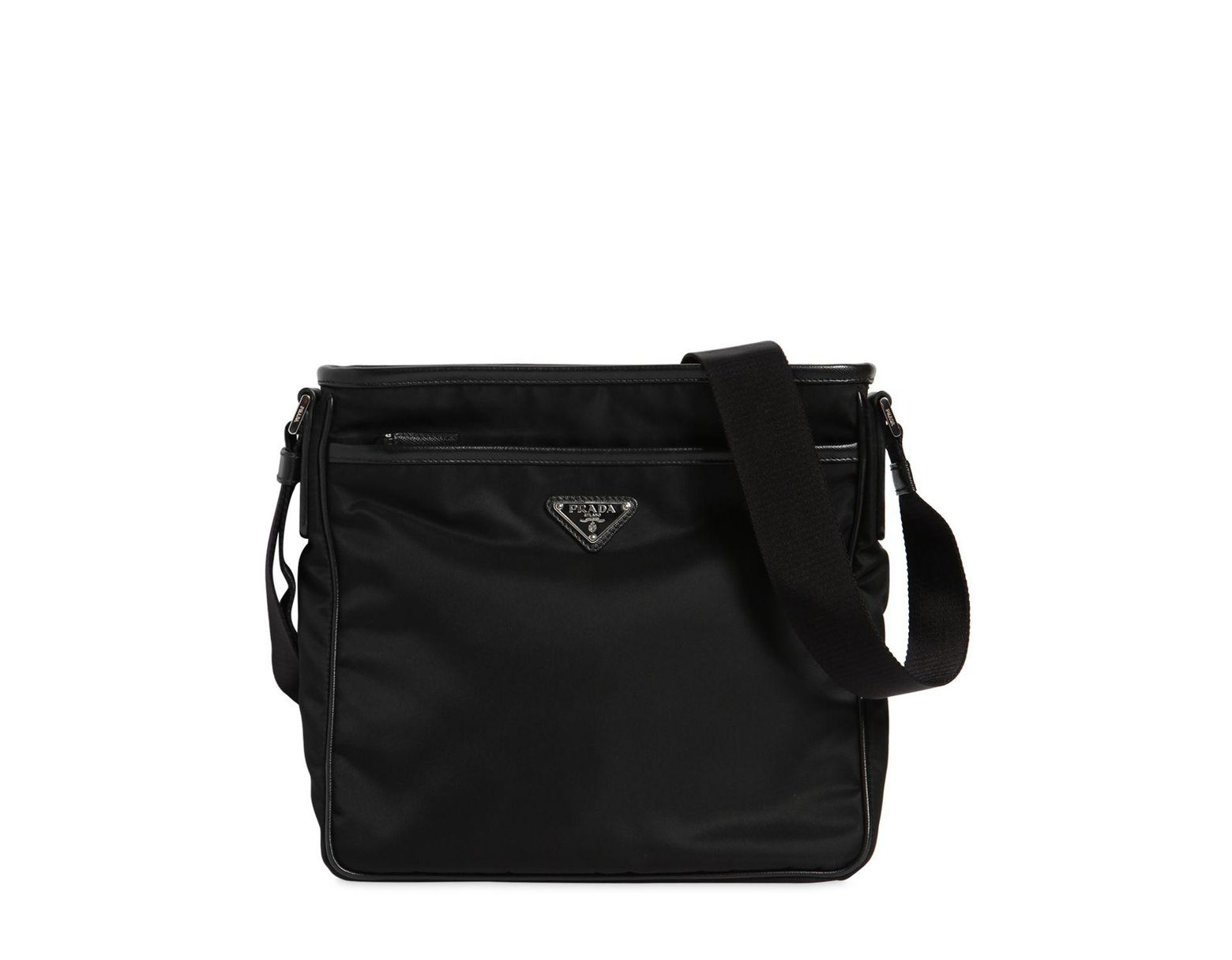 6b83660e82ba Prada Nylon Crossbody Bag W/ Leather Trim in Black for Men - Lyst