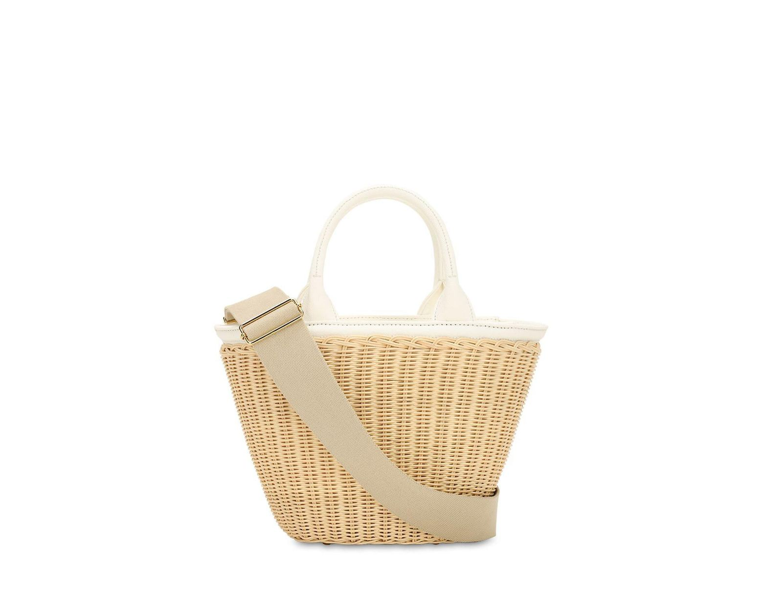 5f46cfcd9917c4 Prada Canvas & Wicker Top Handle Bag in Natural - Lyst