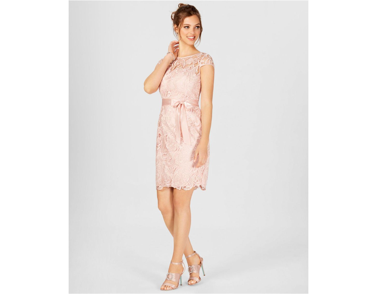 db5ab29b1d9d Adrianna Papell Cap-sleeve Illusion Lace Sheath in Pink - Save 40% - Lyst