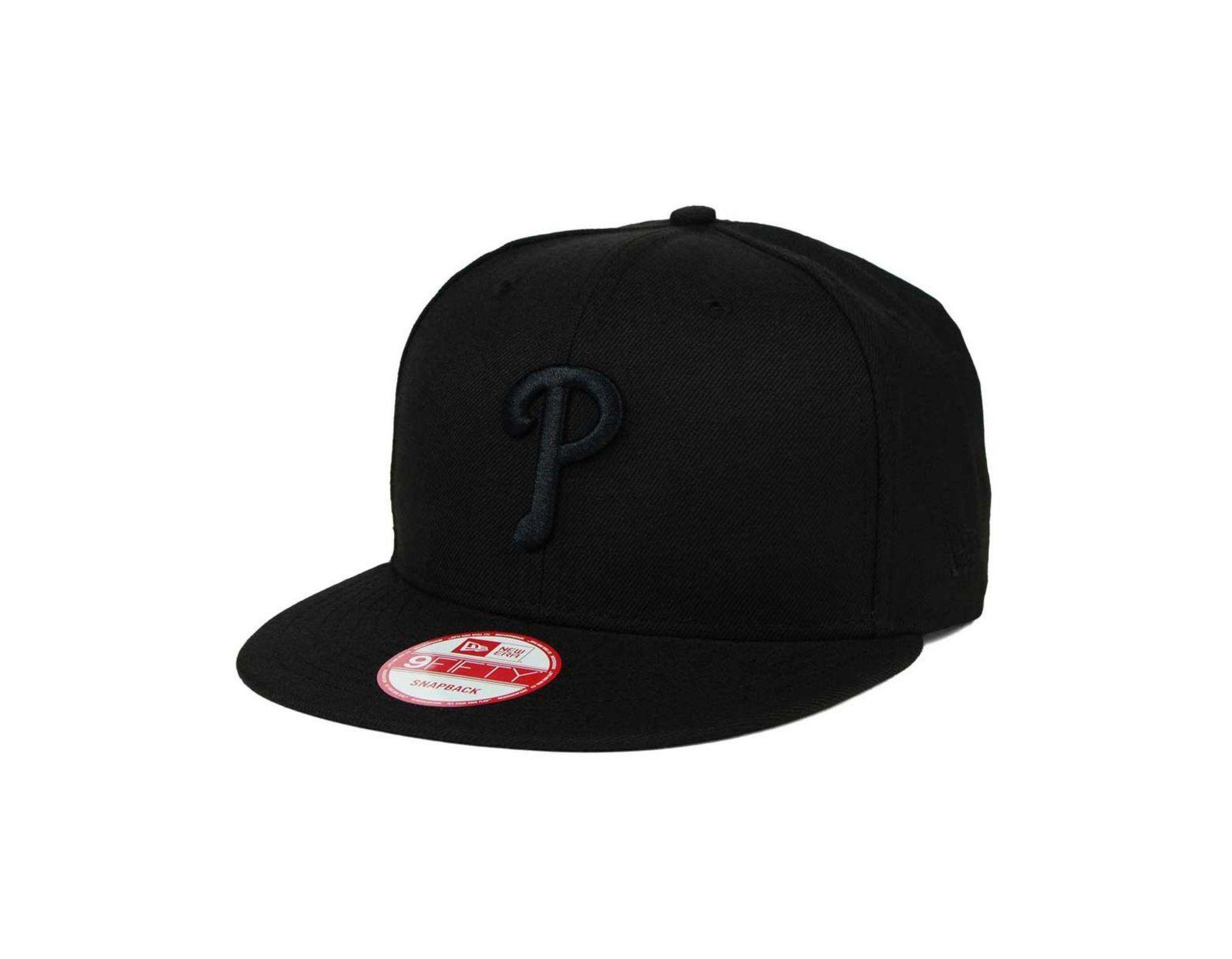 8cd7bd79b5938 KTZ Philadelphia Phillies Black On Black 9fifty Snapback Cap in Black for  Men - Lyst