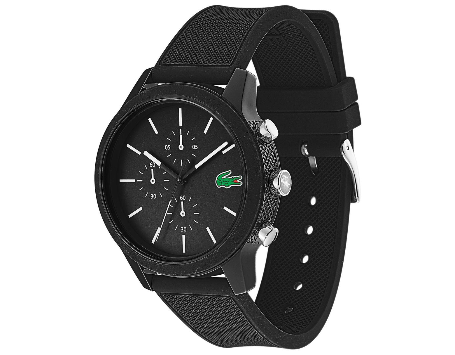 d3cf293a9 Lacoste Chronograph 12.12 Black Silicone Strap Watch 44mm in Black for Men  - Lyst
